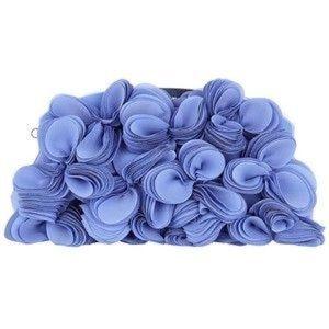 BNWT Karen Millen blue satin hydrangea clutch